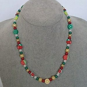 NWT Red, yellow, green fruit beaded necklace